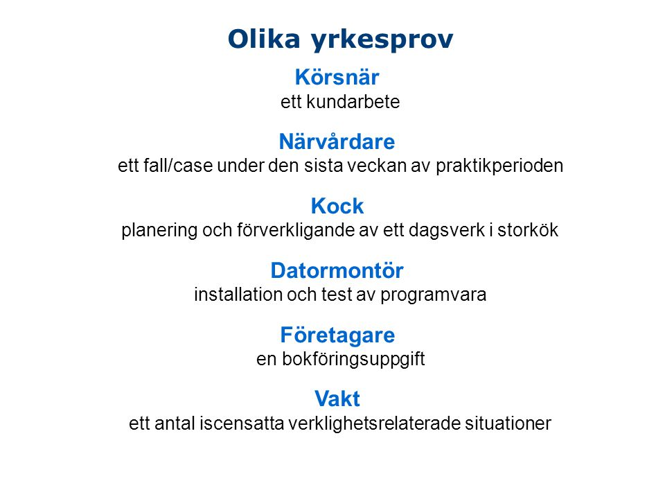 Olika yrkesprov Körsnär Närvårdare Kock Datormontör Företagare Vakt