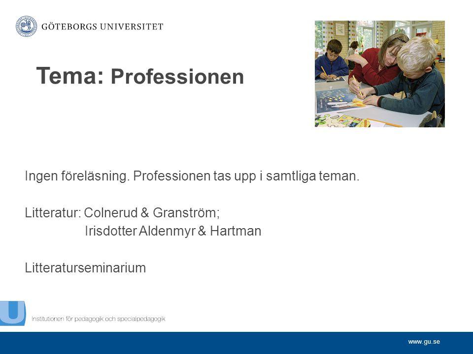 Tema: Professionen Ingen föreläsning. Professionen tas upp i samtliga teman. Litteratur: Colnerud & Granström;