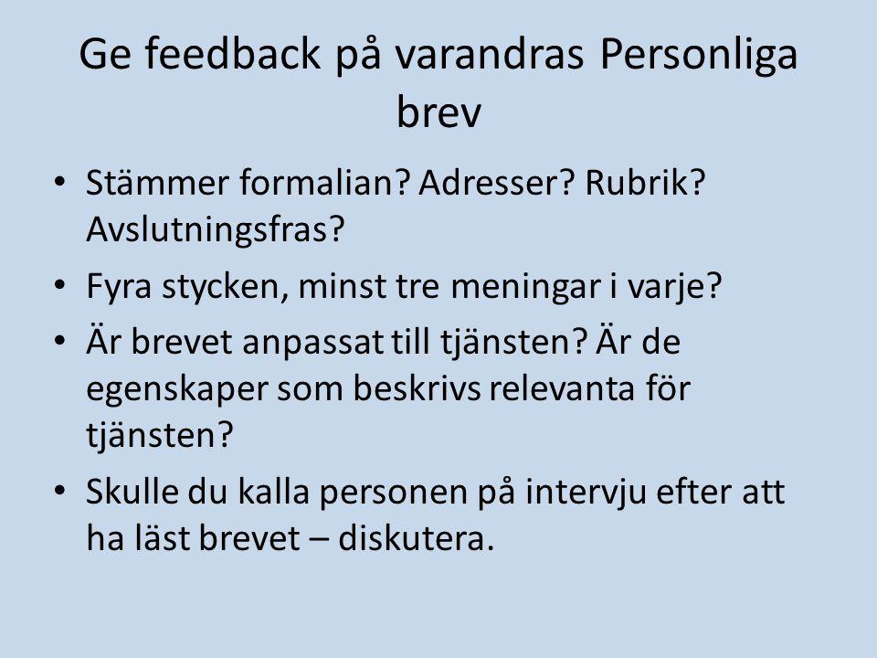 Ge feedback på varandras Personliga brev