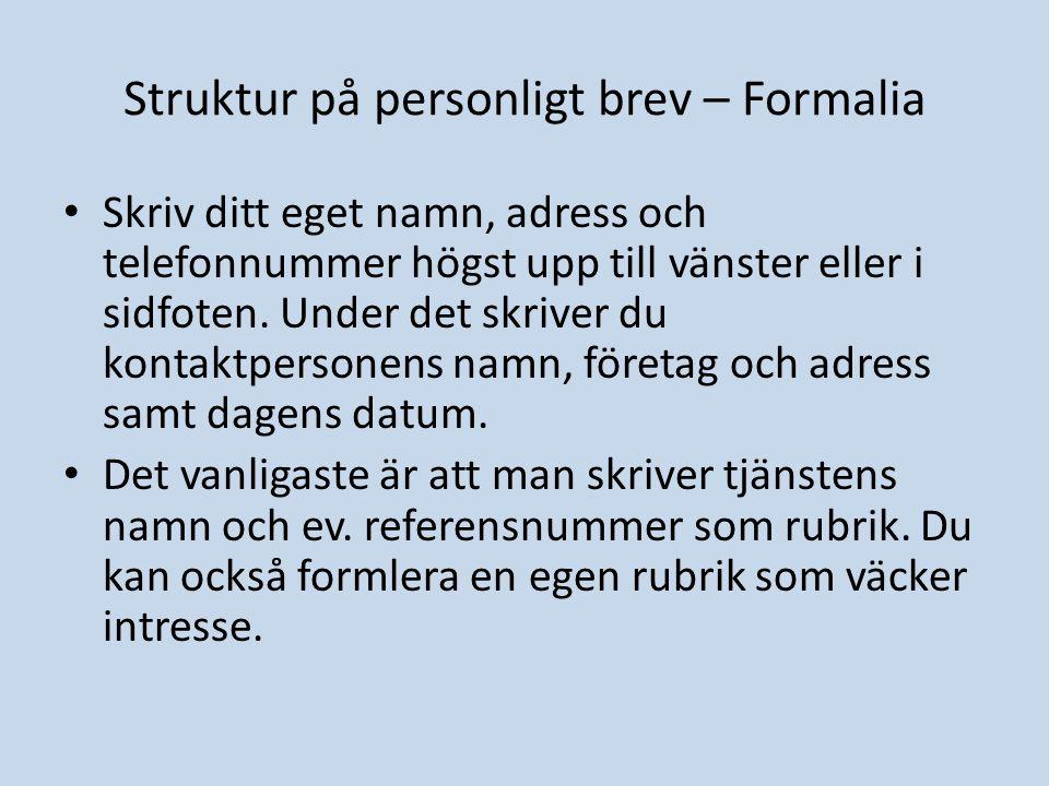 Struktur på personligt brev – Formalia