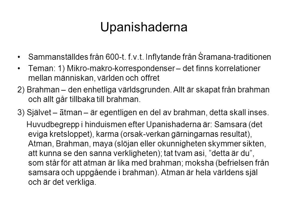 Upanishaderna Sammanställdes från 600-t. f.v.t. Inflytande från Śramana-traditionen.