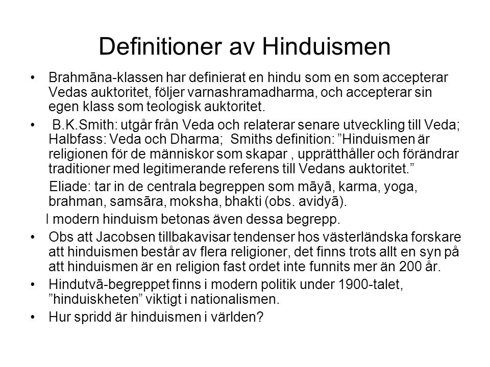 Definitioner av Hinduismen