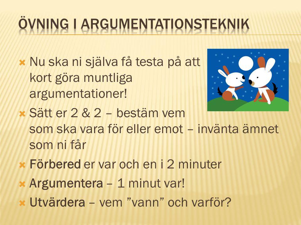 Övning i Argumentationsteknik