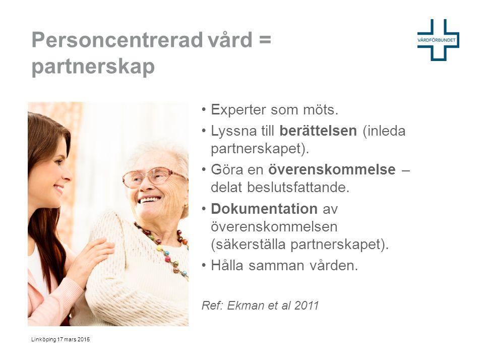Personcentrerad vård = partnerskap