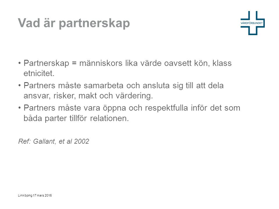 Vad är partnerskap Partnerskap = människors lika värde oavsett kön, klass etnicitet.