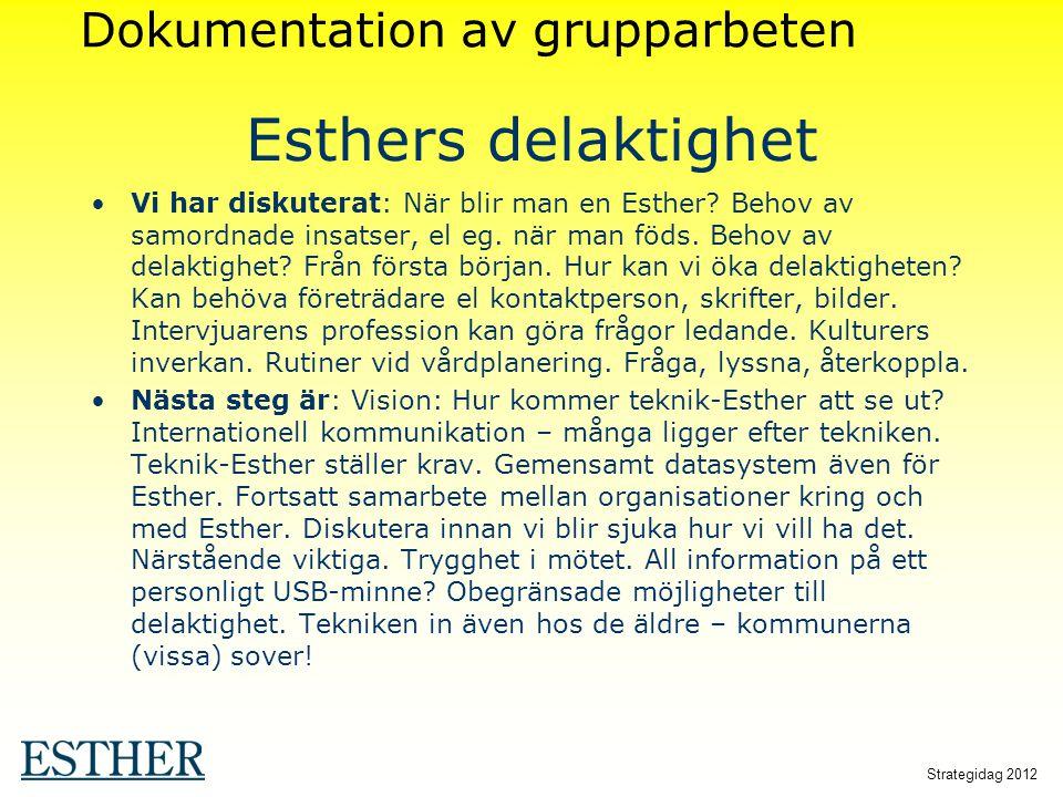 Esthers delaktighet Dokumentation av grupparbeten