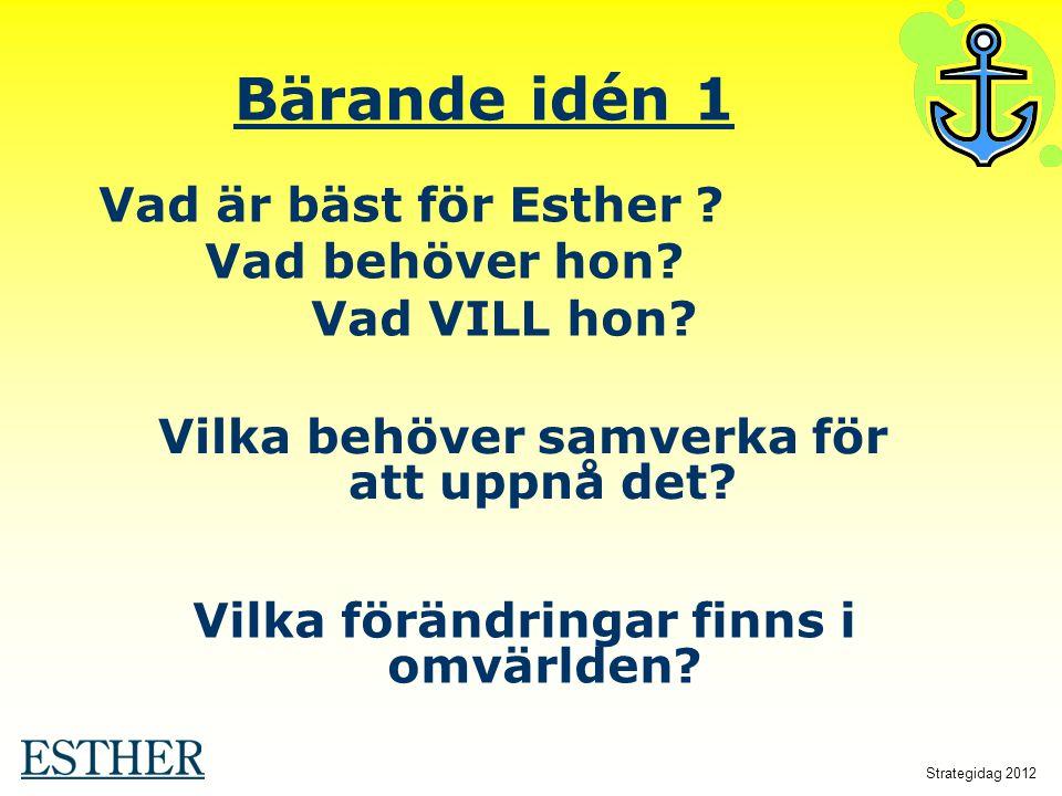 Bärande idén 1 Vad är bäst för Esther Vad behöver hon Vad VILL hon
