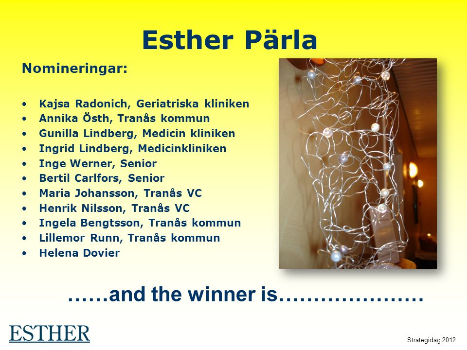Esther Pärla ……and the winner is………………… Nomineringar: