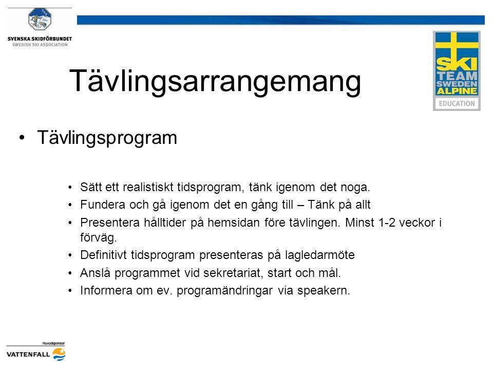 Tävlingsarrangemang Tävlingsprogram