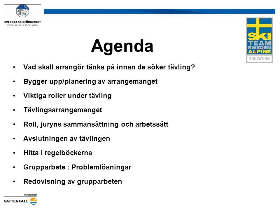 Agenda Vad skall arrangör tänka på innan de söker tävling