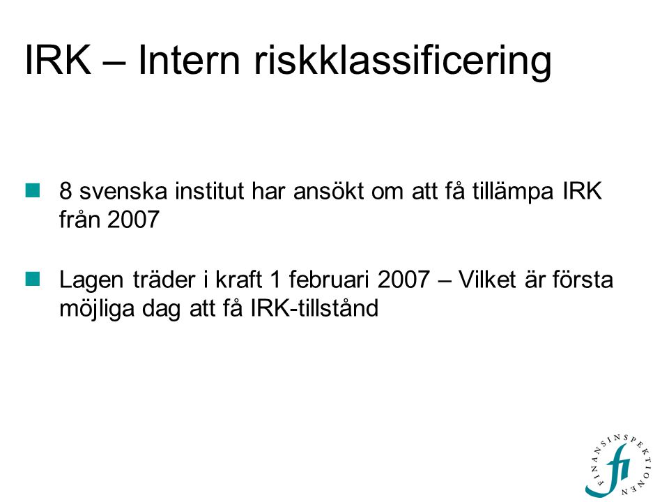IRK – Intern riskklassificering
