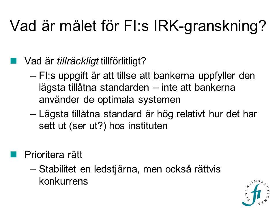 Vad är målet för FI:s IRK-granskning