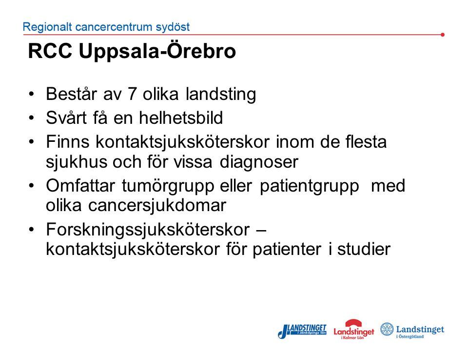 RCC Uppsala-Örebro Består av 7 olika landsting Svårt få en helhetsbild