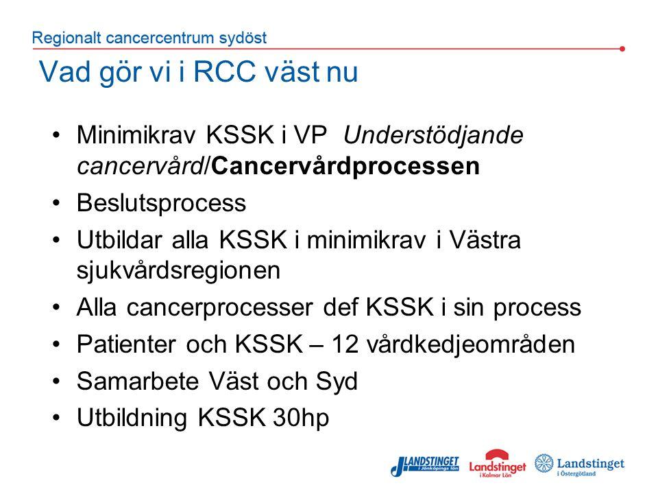 Vad gör vi i RCC väst nu Minimikrav KSSK i VP Understödjande cancervård/Cancervårdprocessen. Beslutsprocess.