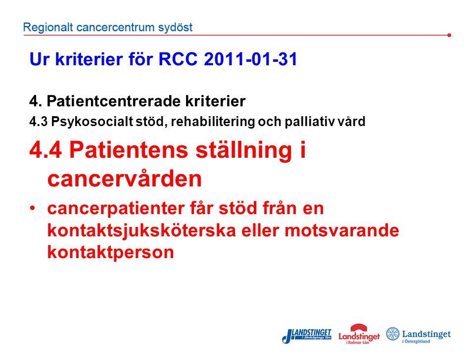 4.4 Patientens ställning i cancervården