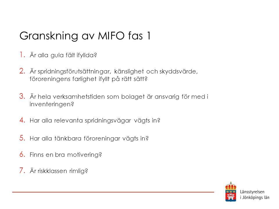 Granskning av MIFO fas 1 Är alla gula fält ifyllda