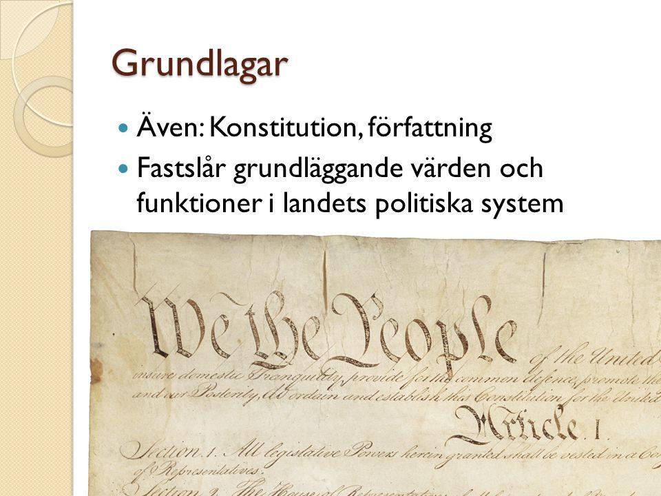Grundlagar Även: Konstitution, författning