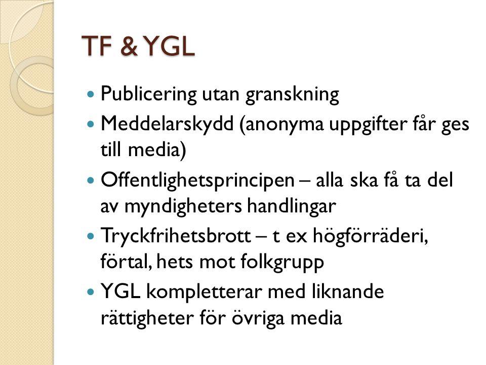TF & YGL Publicering utan granskning