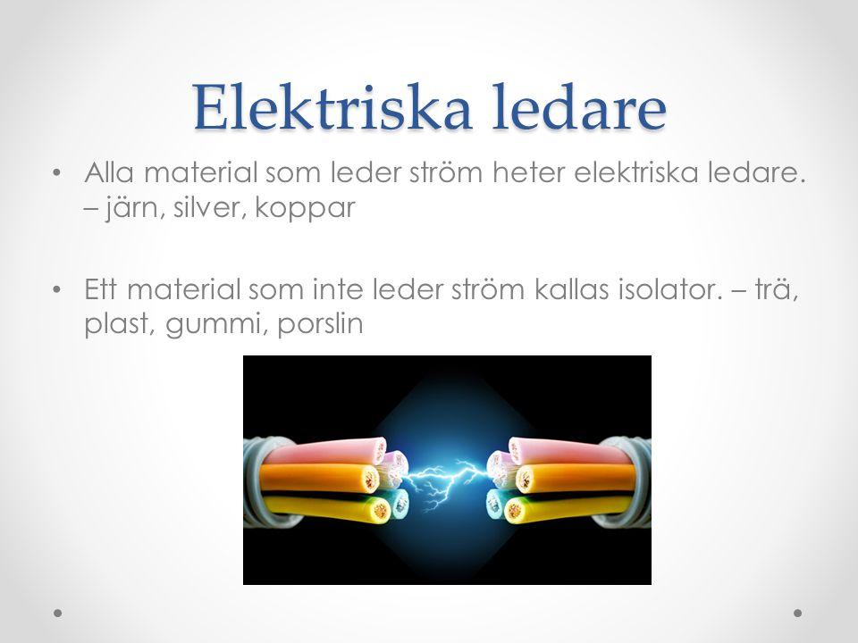 Elektriska ledare Alla material som leder ström heter elektriska ledare. – järn, silver, koppar.