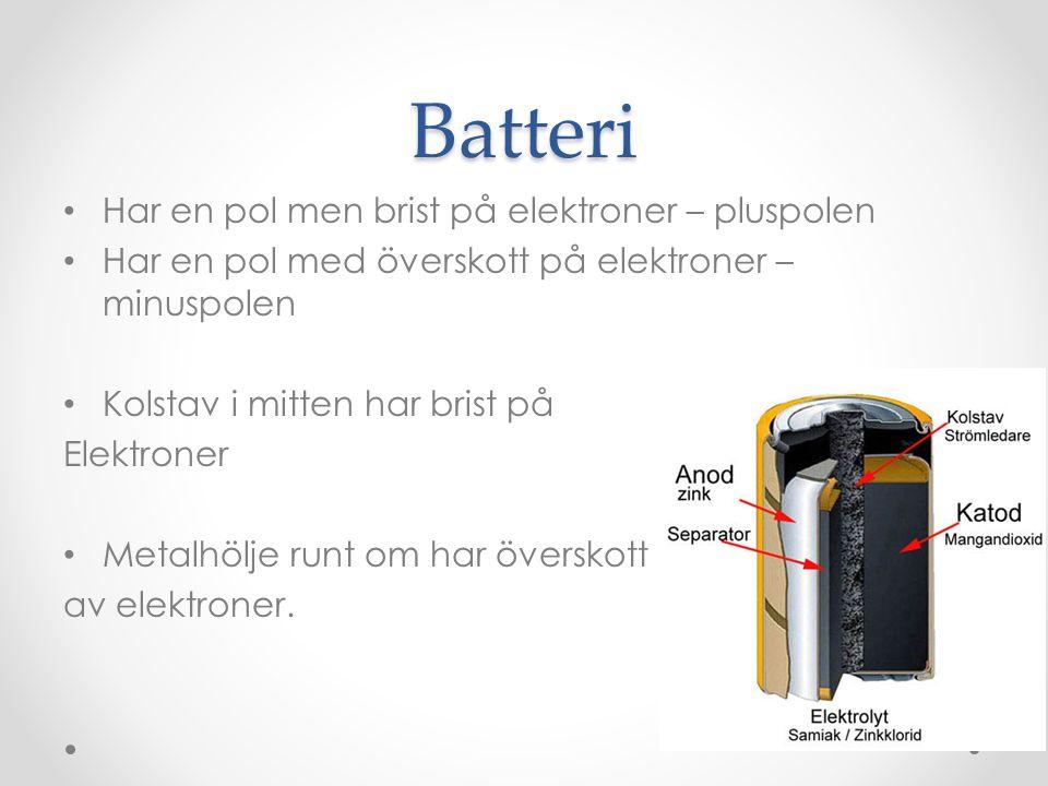 Batteri Har en pol men brist på elektroner – pluspolen