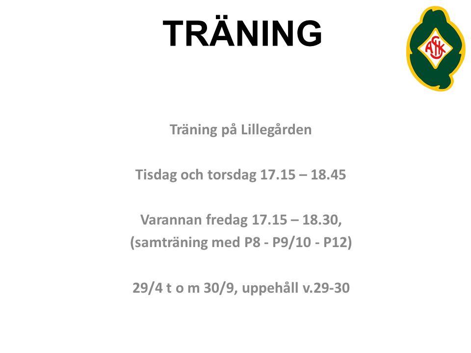 Träning på Lillegården (samträning med P8 - P9/10 - P12)