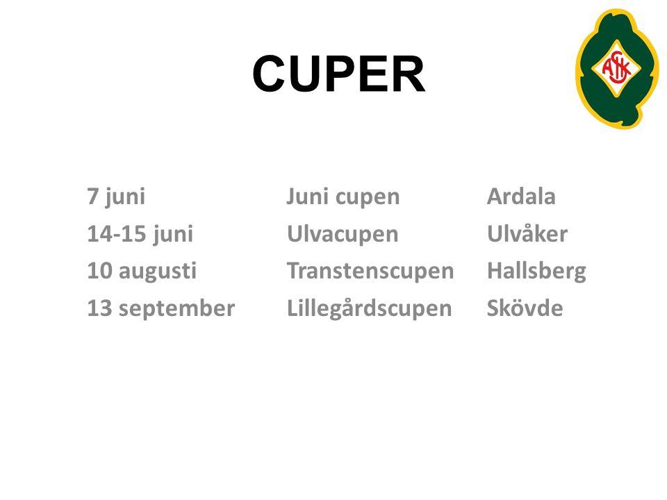 CUPER 7 juni Juni cupen Ardala 14-15 juni Ulvacupen Ulvåker