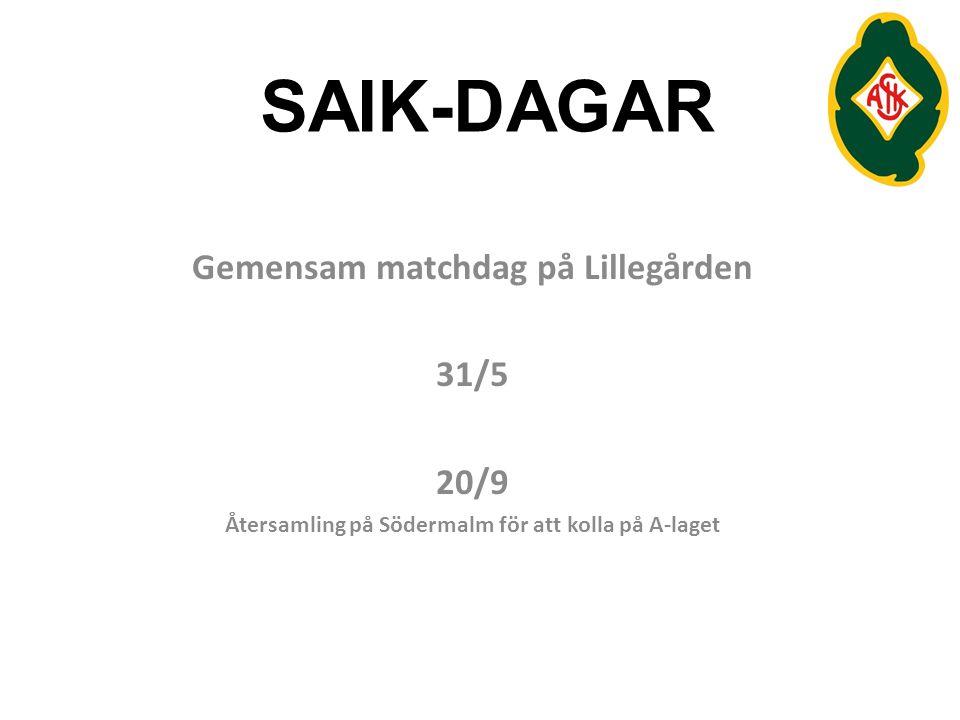 SAIK-DAGAR Gemensam matchdag på Lillegården 31/5 20/9