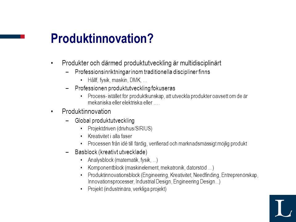 Produktinnovation Produkter och därmed produktutveckling är multidisciplinärt. Professionsinriktningar inom traditionella discipliner finns.