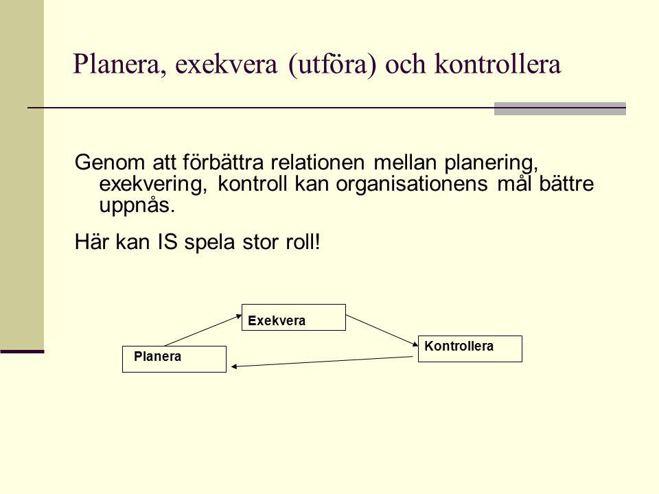 Planera, exekvera (utföra) och kontrollera