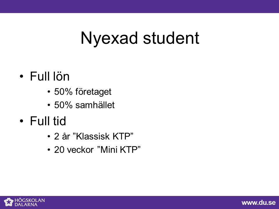 Nyexad student Full lön Full tid 50% företaget 50% samhället