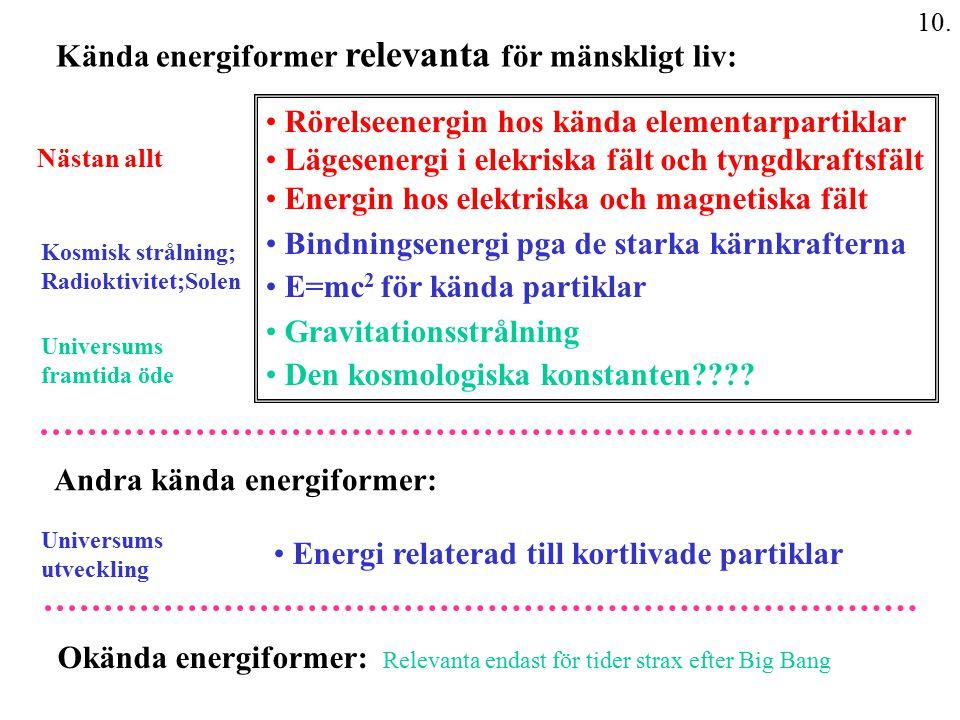 Kända energiformer relevanta för mänskligt liv:
