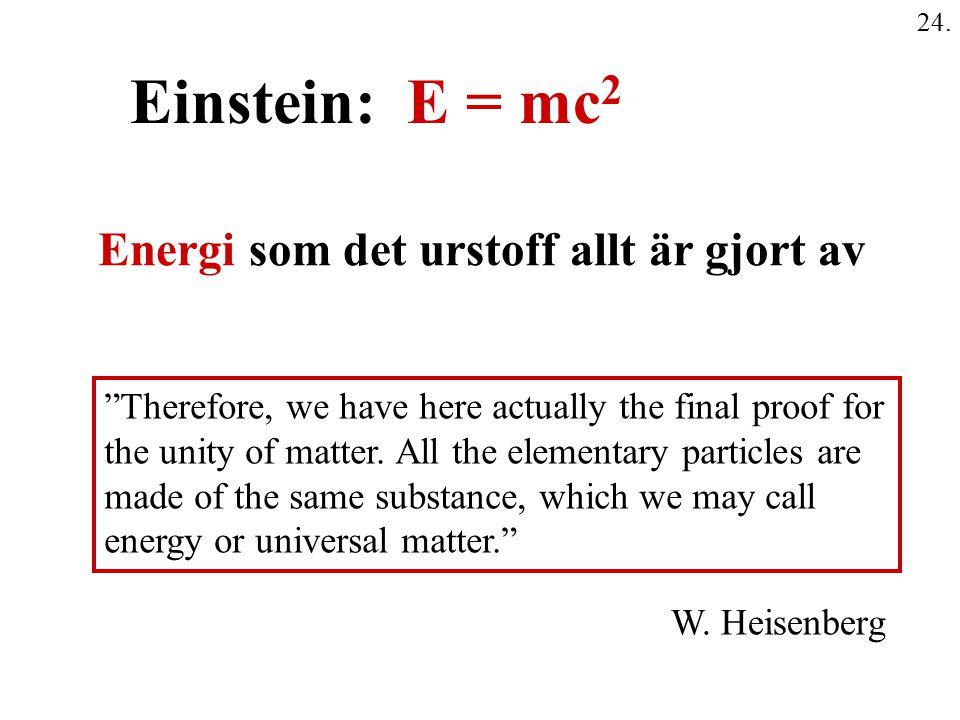 Einstein: E = mc2 Energi som det urstoff allt är gjort av