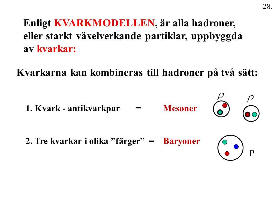 Enligt KVARKMODELLEN, är alla hadroner,