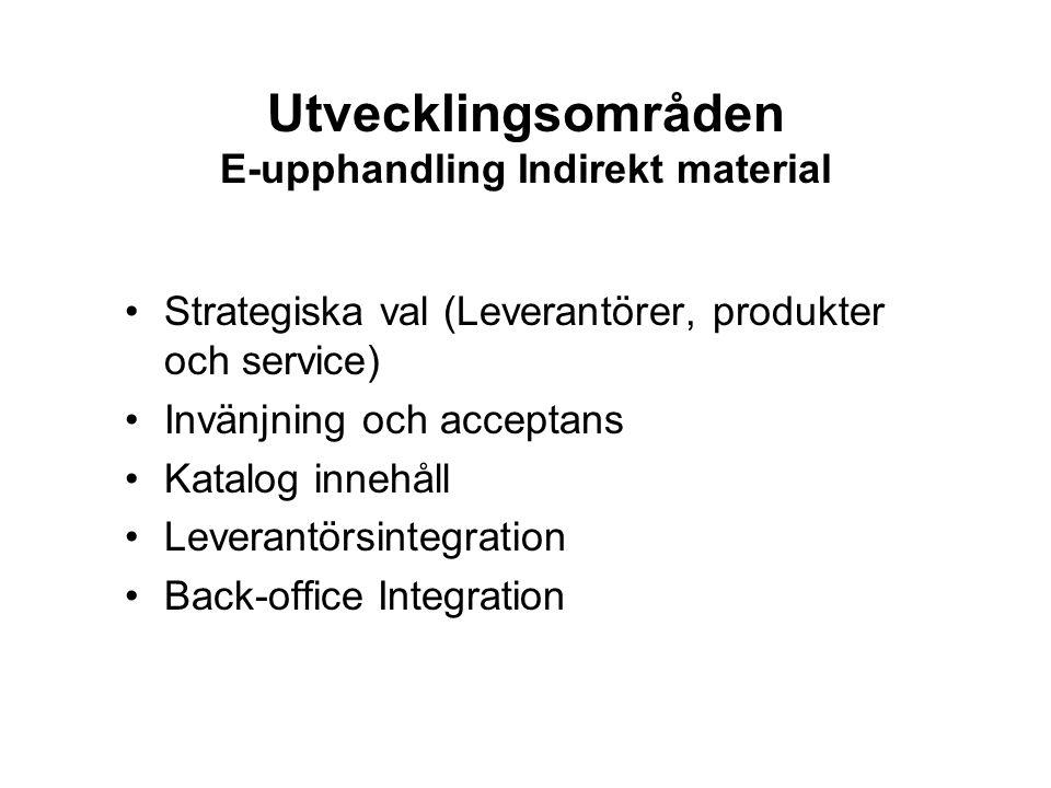 Utvecklingsområden E-upphandling Indirekt material