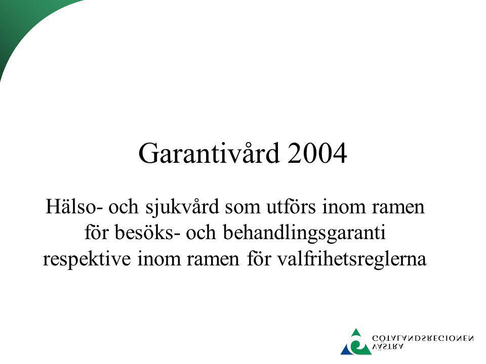 Garantivård 2004 Hälso- och sjukvård som utförs inom ramen för besöks- och behandlingsgaranti respektive inom ramen för valfrihetsreglerna.