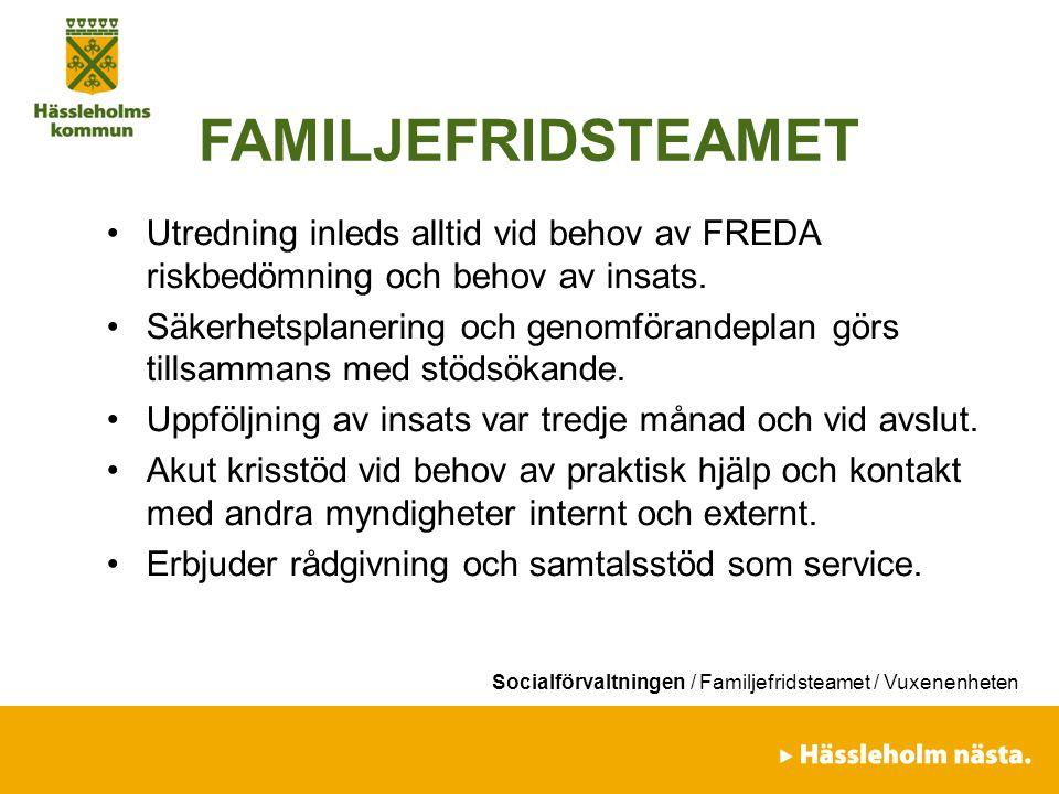 FAMILJEFRIDSTEAMET Utredning inleds alltid vid behov av FREDA riskbedömning och behov av insats.