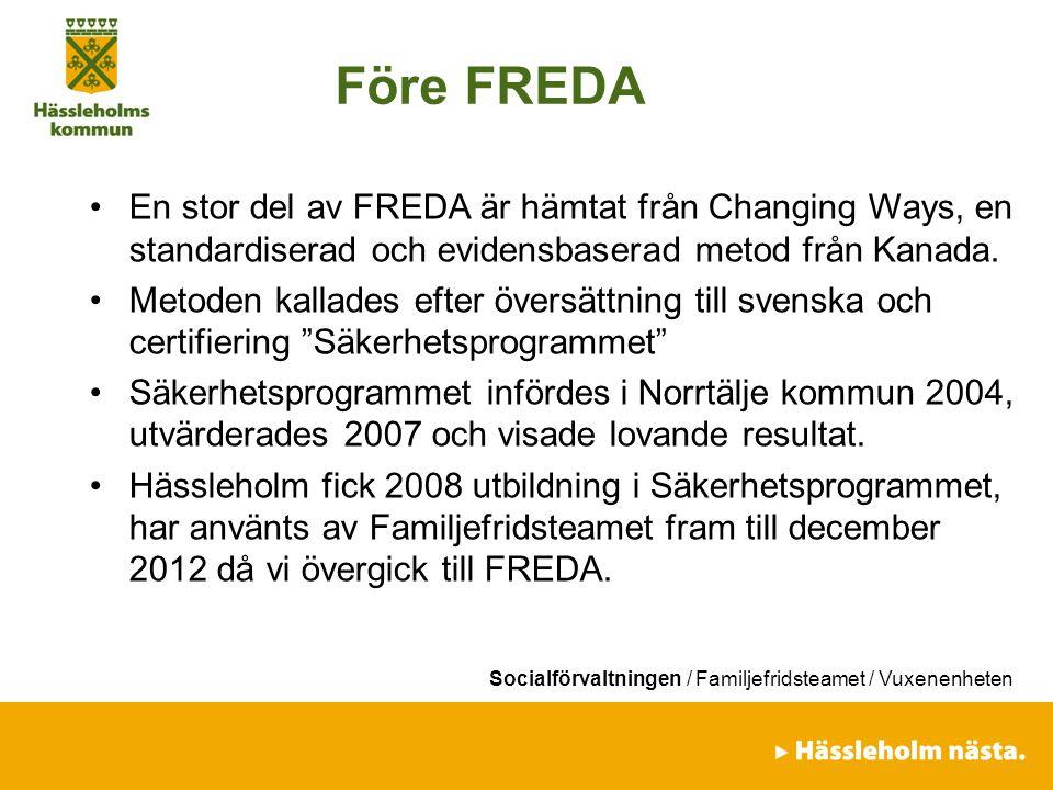 Före FREDA En stor del av FREDA är hämtat från Changing Ways, en standardiserad och evidensbaserad metod från Kanada.