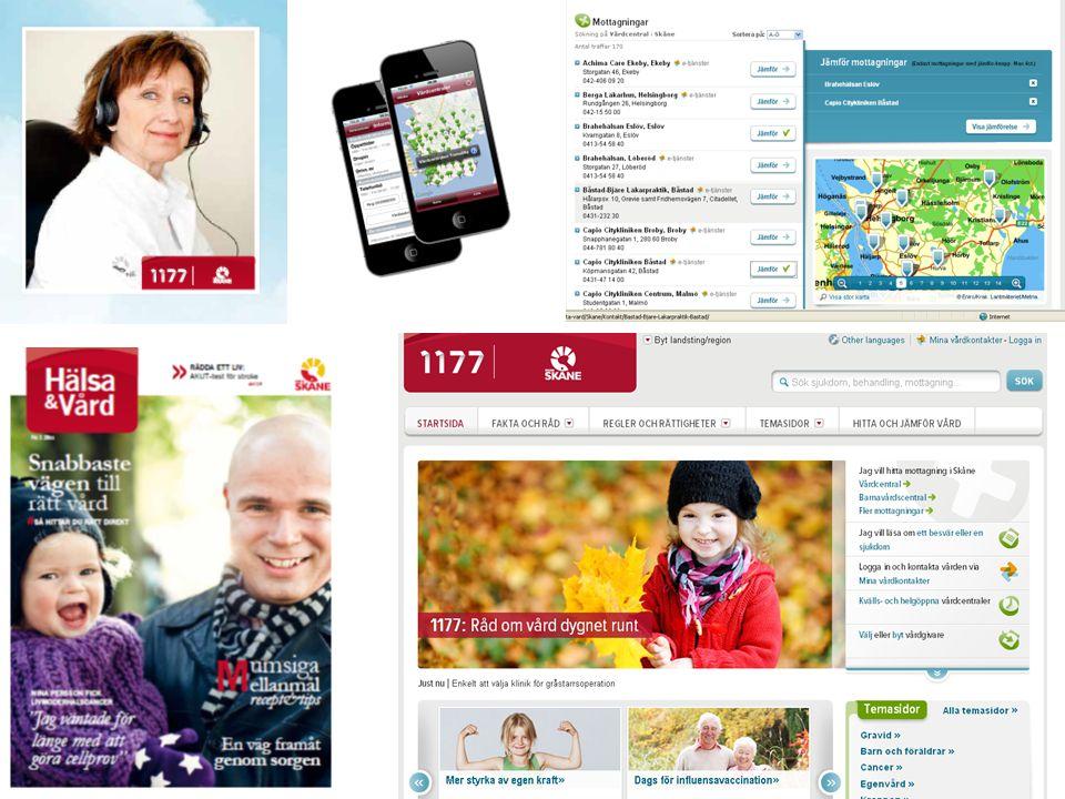Region Skånes 1177-tjänster ger ökad tillgång till kvalitetssäkrad information, underlättar kontakten med vård och omsorg och ger bättre möjlighet till självservice och delaktighet.