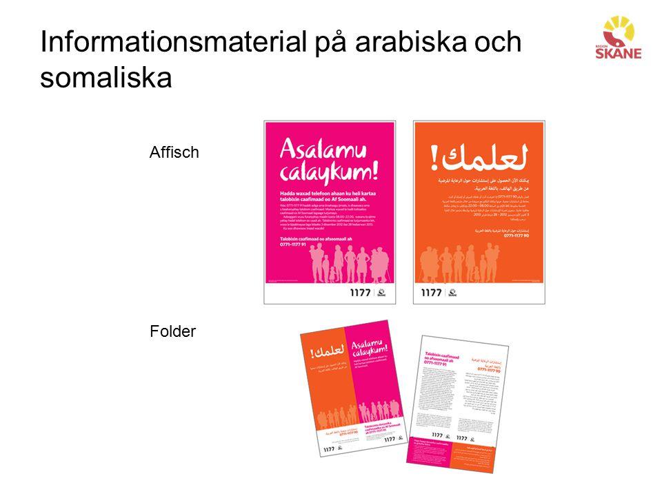Informationsmaterial på arabiska och somaliska