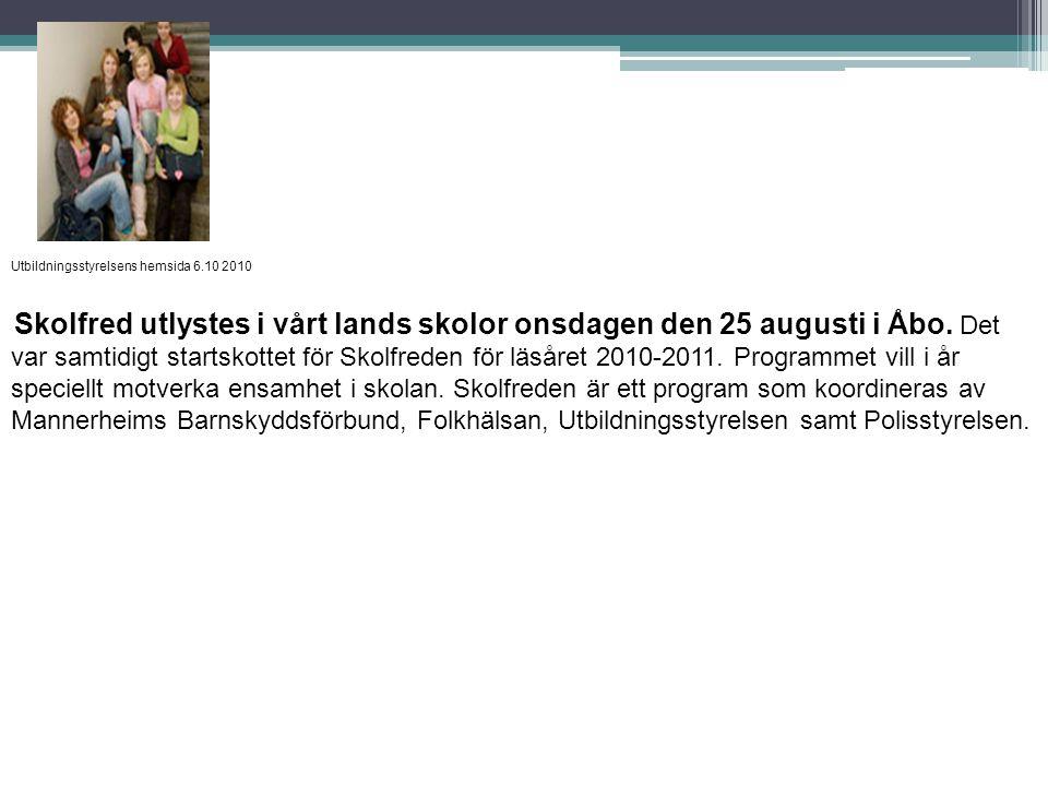 Utbildningsstyrelsens hemsida 6.10 2010