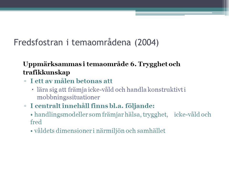 Fredsfostran i temaområdena (2004)