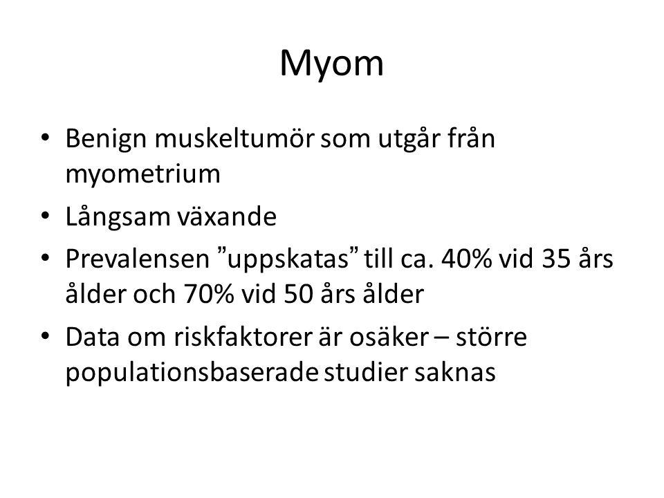 Myom Benign muskeltumör som utgår från myometrium Långsam växande