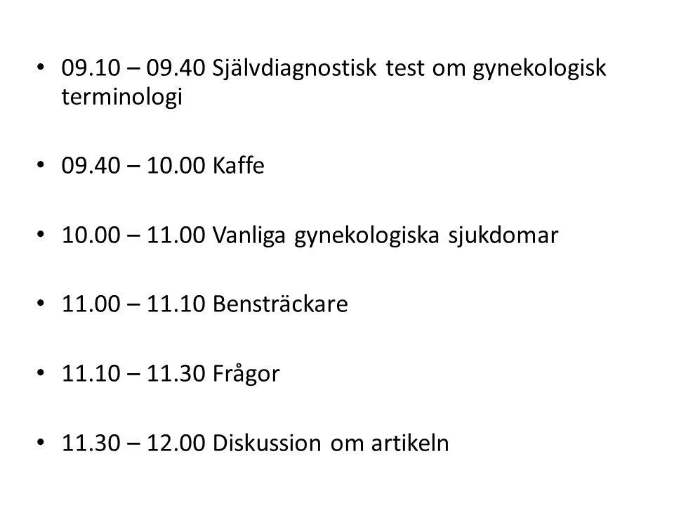 09.10 – 09.40 Självdiagnostisk test om gynekologisk terminologi