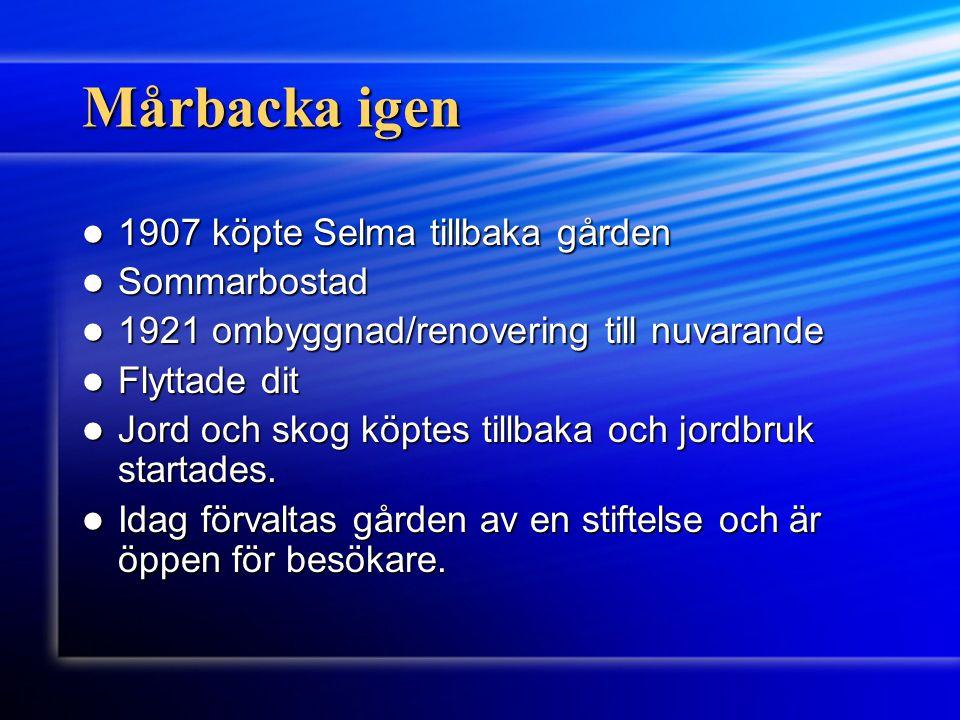 Mårbacka igen 1907 köpte Selma tillbaka gården Sommarbostad