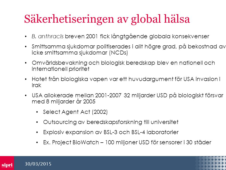 Säkerhetiseringen av global hälsa