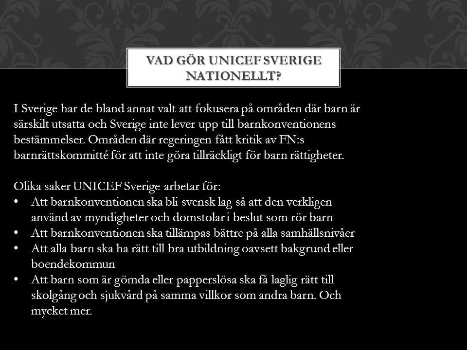Vad gör UNICEF Sverige nationellt