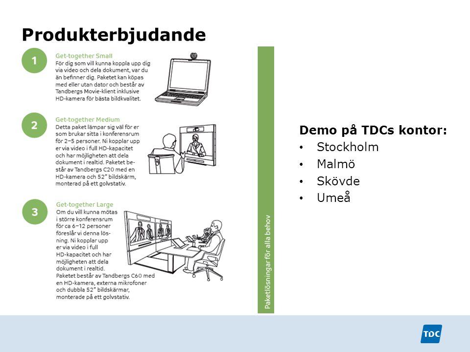 Produkterbjudande Demo på TDCs kontor: Stockholm Malmö Skövde Umeå