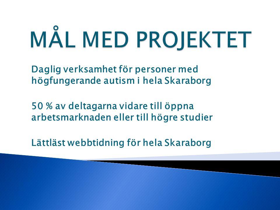 MÅL MED PROJEKTET Daglig verksamhet för personer med högfungerande autism i hela Skaraborg.