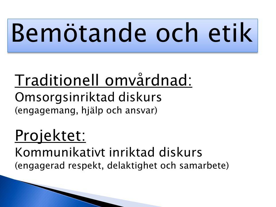 Bemötande och etik Traditionell omvårdnad: Projektet: