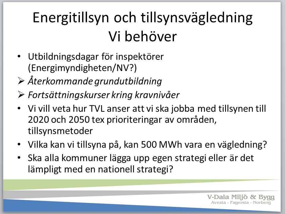 Energitillsyn och tillsynsvägledning Vi behöver